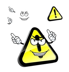 Cartoon hazard warning attention sign vector image
