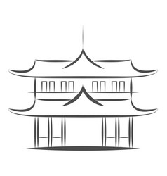 chinese or japanese pagoda building icon vector image