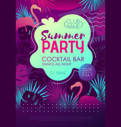 Colorful summer disco party poster vector