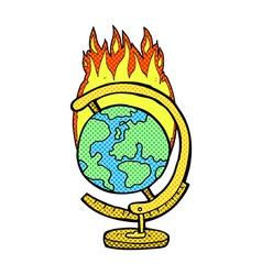 Comic cartoon burning globe vector