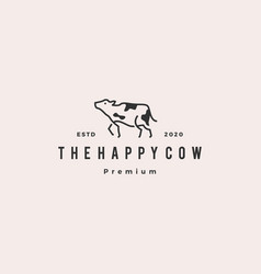 cow logo hipster retro vintage icon vector image