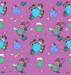 Cozy cosmic background with cute planets vector