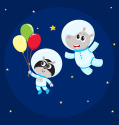 Cute animal astronaut spaceman characters hippo vector