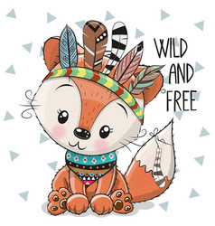 Cute cartoon tribal fox with feathers vector