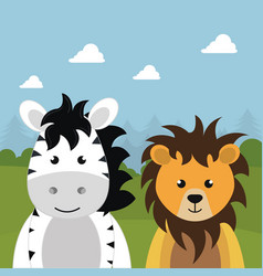 Cute lion and zebra in the field landscape vector