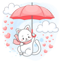 cute white kitten floating on a pink umbrella vector image