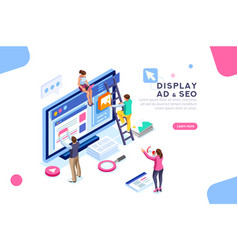 Display campaign flat isometric banner vector
