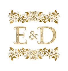 E and d vintage initials logo symbol vector