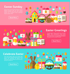 easter greetings web horizontal banners vector image
