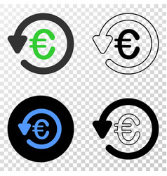 euro chargeback eps icon with contour vector image