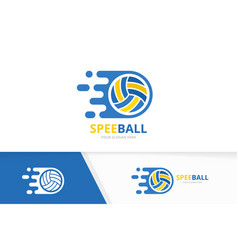 fast volleyball logo combination speed vector image