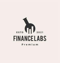 finance lab bar chart hipster vintage logo icon vector image