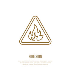 Fire danger flat line sign flame protection thin vector