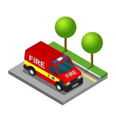 Firefighter pickup van isometric 3d car truck vector image