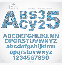 Floral font and numbers hand-drawn alphabet vector