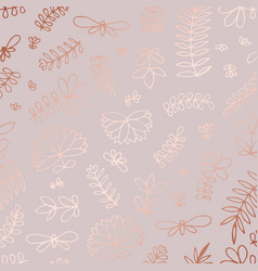 floral pattern with rose gold imitation for vector image