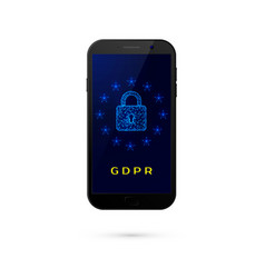 gdpr - general data protection security phone vector image