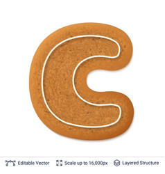gingerbread letter c isolated on white vector image