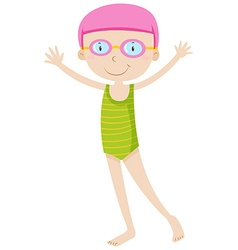 Girl in swimming suit and goggles vector image