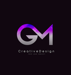 Gm letter logo design purple texture creative vector