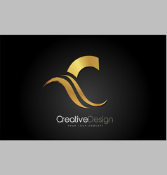 gold metal c letter design brush paint stroke on vector image