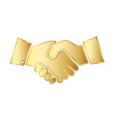 golden handshake icon vector image