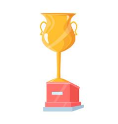golden trophy cup on pedestal vector image