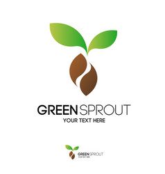 Green sprout logo modern color style vector