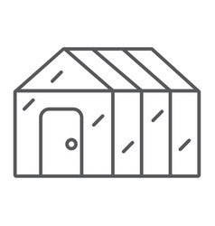 Greenhouse thin line icon garden and farm vector