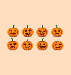 halloween pumpkins in with set of different vector image