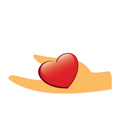 Hand with red heart vector
