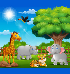 Happy animals on nature scene vector