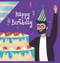 Happy birthday man wearing glasses with cake vector
