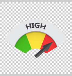 High level risk gauge icon high fuel on isolated vector