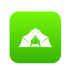 hiking and camping tent icon digital green vector image
