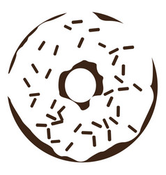 Isolated donut silhouette vector