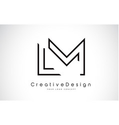 Lm l m letter logo design in black colors vector