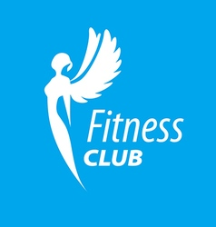 logo girl with wings for fitness vector image