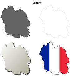 Lozere Languedoc-Roussillon outline map set vector
