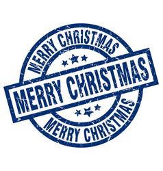 Merry christmas blue round grunge stamp vector