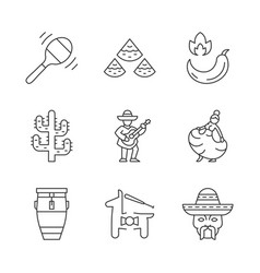mexican linear icons set vector image