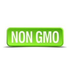 Non gmo green 3d realistic square isolated button vector