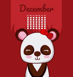 panda bear cute calendar design vector image