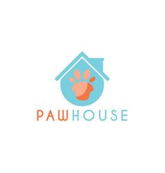 pet paw house logo design template vector image