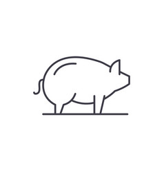 pig line icon concept pig linear vector image