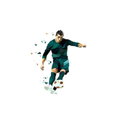 polygonal of soccer player shot on the ball image vector image
