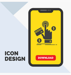 ppc click pay payment web glyph icon in mobile vector image