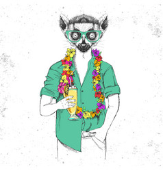 Retro hipster animal lemur with tropic cocktail vector