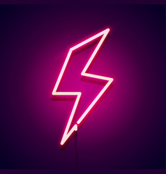 retro neon bolt sign glowing lightning icon vector image