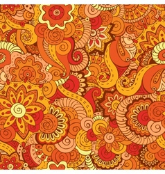 Seamless asian ethnic floral retro doodle pattern vector image